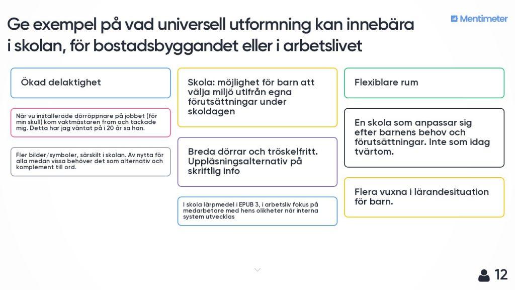 Bild från workshopen med några av de förslag som skickades in från publiken.