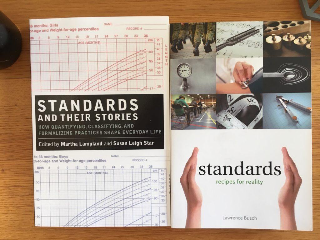 Bilden visar böcker om standarder. I våras blev en europeisk standard (EN 17161) klar för hur arbetet med universell utformning ska gå till