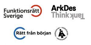 Logotyper för Funktionsrätt Sverige, ArkDes, Rätt från början och Arvsfonden