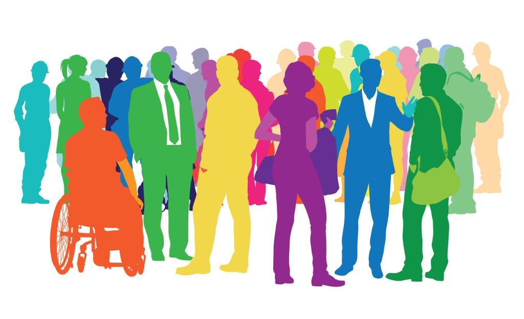Bild på en mångfald av människor i olika färger