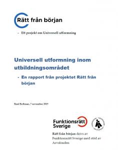 Framsida av rapporten om Universell utformning inom utbildningsområdet