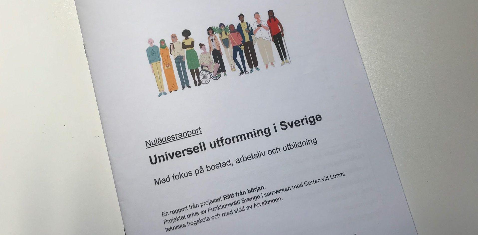 Bilden visar framsidan på Rätt från börjans nulägesrapport om universell utformning