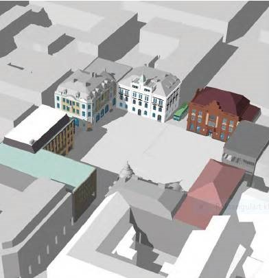 Bilden visar en skiss av Stora Torget, som nu ska förnyas.