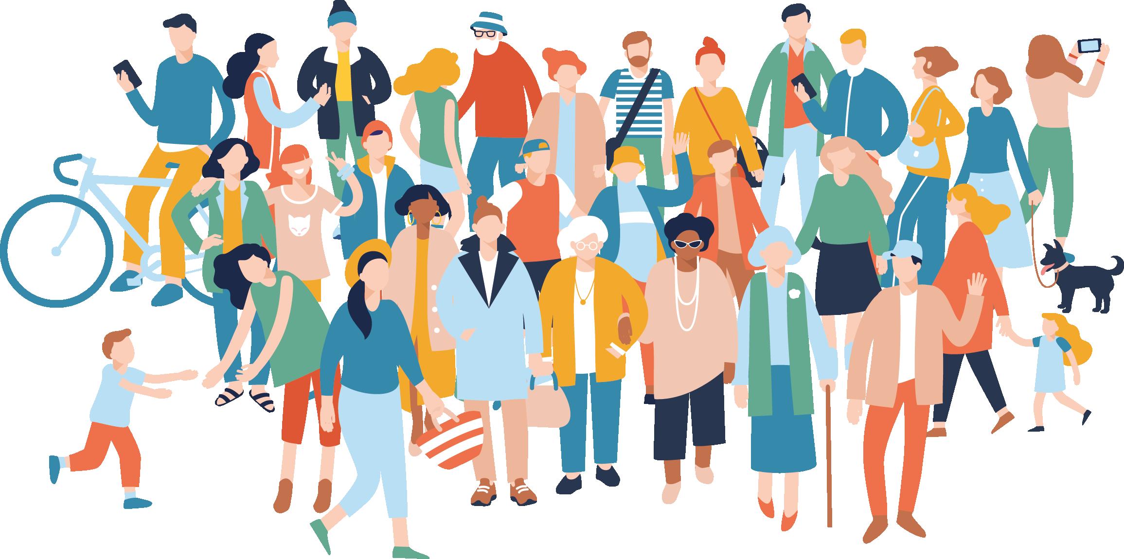 Bilden visar en grupp människor i olika åldrar, med en mångfald av klädstilar, former och färger